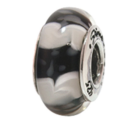 Prerogatives Sterling Black and White Glass Bead