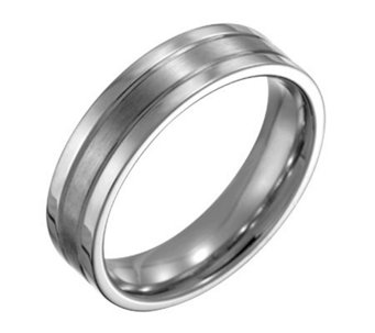 Forza Men's 6mm Steel Flat Satin Polished Ring - J109520