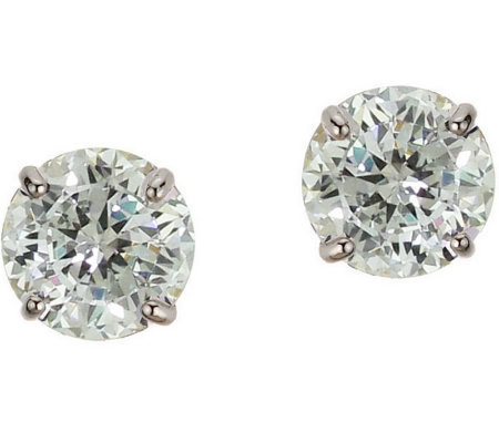 Diamonique 4.00 ct tw 100-Facet Stud Earrings,1 4K Gold
