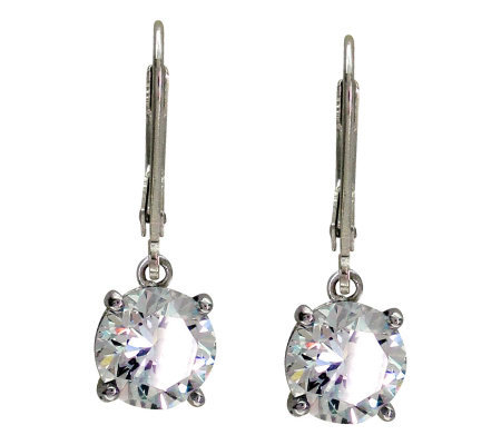 Diamonique 4.00 cttw Round Lever Back Earrings, Platinum Clad