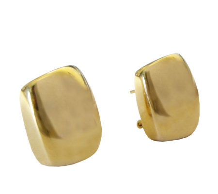 Veronese 18K Clad Polished Cushion Shaped Button Earrings