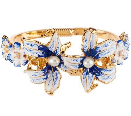 Kenneth Jay Lane's Enamel Dreamtime Lily Bangle Bracelet