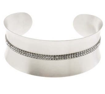 VicenzaSilver Sterling Satin Finish Double Row Pave' Crystal Cuff - J277720