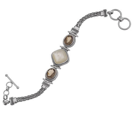 Suarti Artisan CraftedSterling Smoky Quartz & Mother-of-Pearl Bracelet