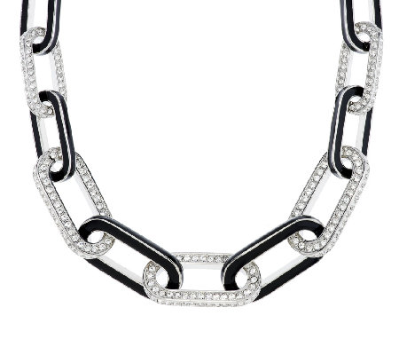 Kenneth Jay Lane's Pave' & Black Enamel Link Necklace