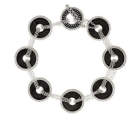 """As Is"" Michael Dawkins Sterling Round Drusy Chain Bracelet"