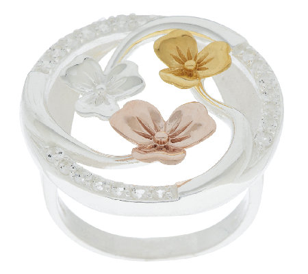JMH Jewellery Sterling Silver & Gold Plated Shamrock Ring