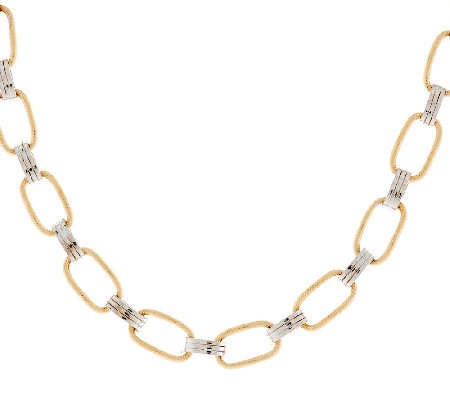 "14K Gold 16"" Two-Tone Textured Link Design Necklace, 8.1g"