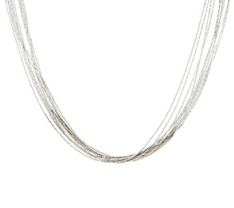 "American West 10 Strand Liquid Silver 21"" Necklace - J291020"