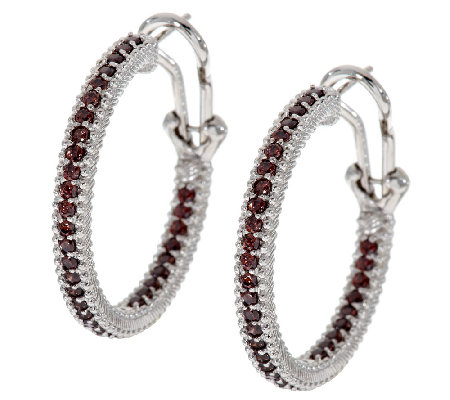 "Judith Ripka Sterling & 5/8 ct Diamonique 1"" Hoop Earrings"