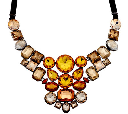 "Joan Rivers Crystal Mosaic 18"" Bib Necklace w/3"" Extender"