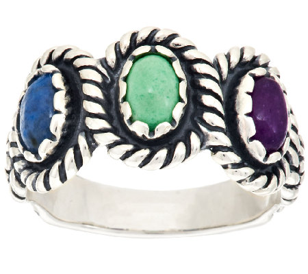 American West Multi-Gemstone Flower Design Sterling Ring