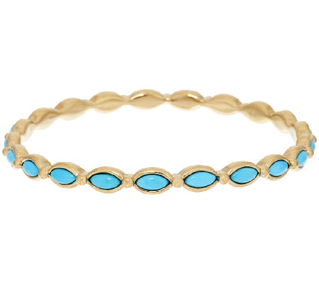 14K Gold Sleeping Beauty Turquoise Small Round Bangle
