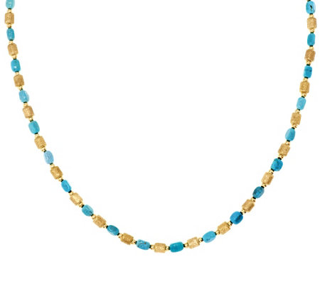 "Bronze 18"" Turquoise & Satin Bead Necklace by Bronzo Italia"
