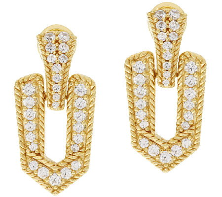 Judith Ripka Sterling & 14K Clad 1.25 ct Diamonique Earrings