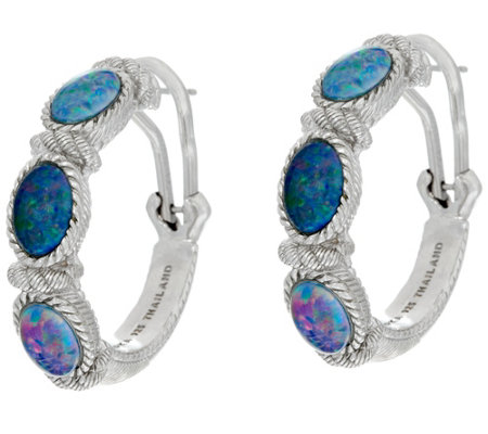 Judith Ripka Sterling Australian Opal Triplet Hoop Earrings