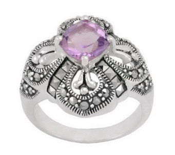 Suspicion Sterling Marcasite and Amethyst Ring - J298520