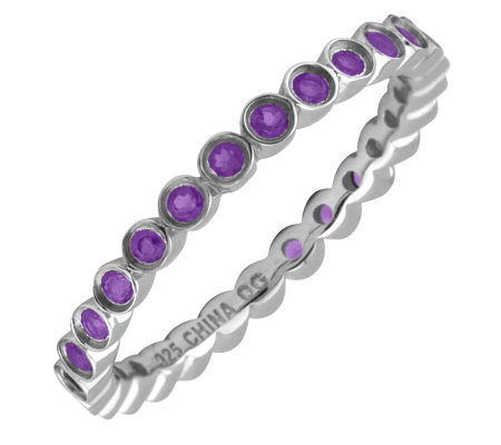 Simply Stacks Sterling Bezel Amethyst EternityStackable Ring