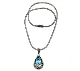 Novica Artisan Crafted Sterling Blue Topaz Pendant w/Chain - J307520