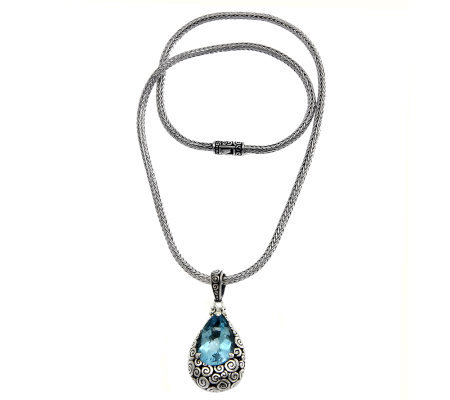 Novica Artisan Crafted Sterling Blue Topaz Pendant w/Chain