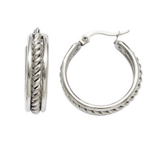 Stainless Steel Twisted Middle Hoop Earrings - J308320