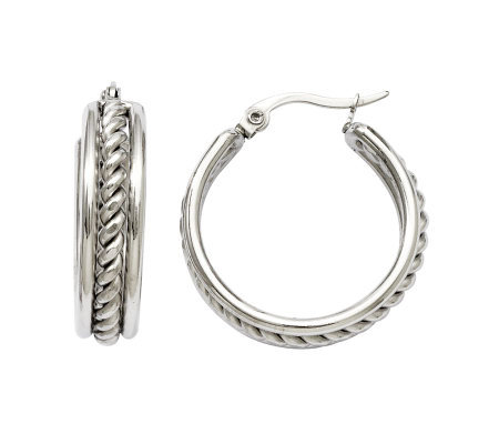 Stainless Steel Twisted Middle Hoop Earrings