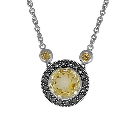 Suspicion Sterling Macasite Gemstone Necklace