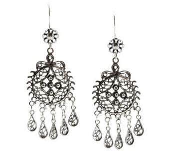 Artisan Crafted Sterling Filigree Dangle Earrings - J309520