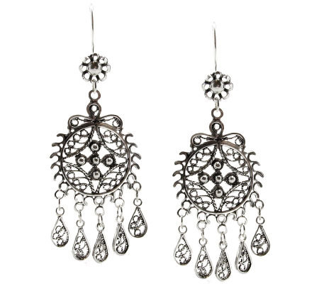 Artisan Crafted Sterling Filigree Dangle Earrings
