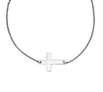 "Stainless Steel 21"" Horizontal Cross Necklace - J311520"
