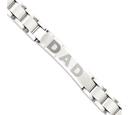 "Forza Men's Stainless Steel 8-3/4"" Brushed ""DAD"" Bracelet"