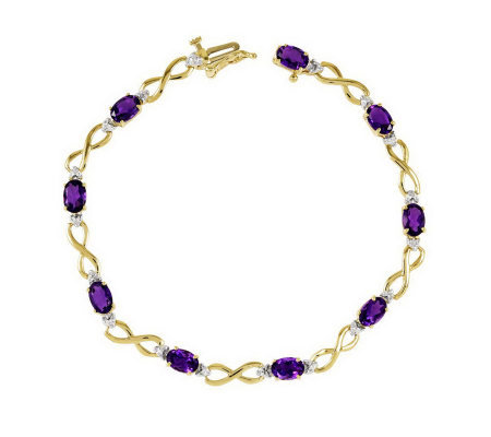 "7"" Gemstone Diamond Accent Infinity Bracelet, 1 4K Gold"