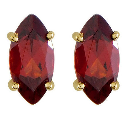 Marquise Gemstone Stud Earrings, 14K Gold