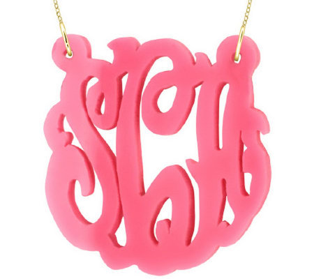 "2"" Acrylic Script Monogram Necklace, 24K PlatedSterling"