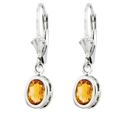 Sterling Oval Gemstone Dangle Lever Back Earrings