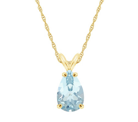 "Pear-Shaped 2.10 ct Aquamarine Pendant with 1 8"" Chain, 14K"