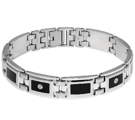 Stainless Steel Men's Bracelet w/ Black Resin,Diamond Accents