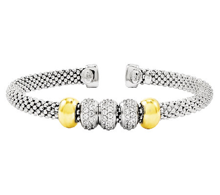 Sterling Average Two-tone Simulated Diamond Accent Mesh Cuff