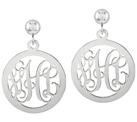 Sterling Polished Script Monogram Round DangleEarrings