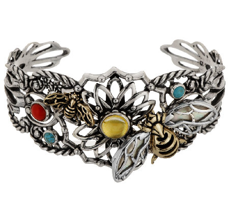 Sterling/Brass Bumblebee Gemstone Cuff by Fritz Casuse