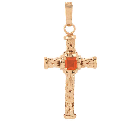 14K Gold 0.15 ct Fire Opal Byzantine Cross Enhancer