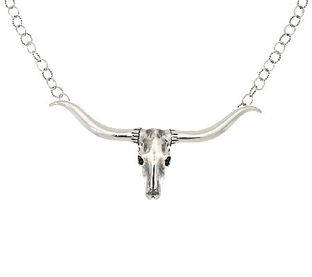 Sterling Silver Longhorn Necklace by American West