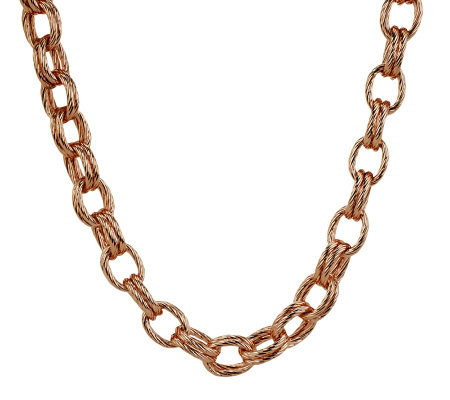 """As Is"" Bronzo Italia 20"" Textured Double Rolo Link Necklace"