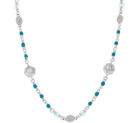 Michael Dawkins Sterling Silver Turquoise & 8.00 ct Blue Topaz Necklace