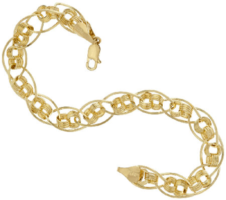 """As Is"" 14K Gold 7-1/4"" Woven Love Knot Oval Link Bracelet, 3.6g"