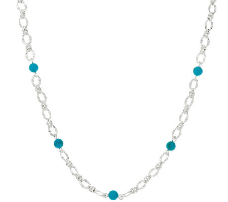 "Turquoise Bead Station Sterling Silver 36"" Status Necklace"