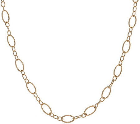 "14K Gold 32"" Textured and Polished Oval Link Necklace, 5.3g"