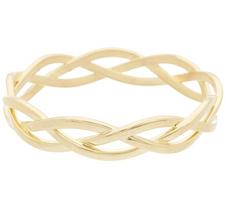 Oro Nuovo Polished Braided Round Slip-on Bangle Bracelet, 14K