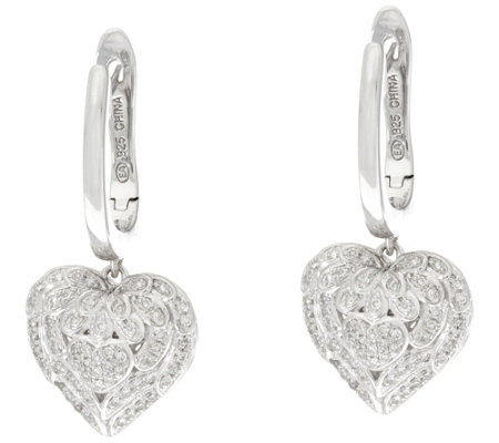 Angel Wing Heart Diamond Earrings, 1/4 cttw, by Affinity