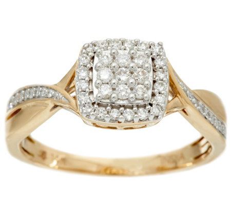 Cluster Cushion Shape Diamond Ring, 14K, 1/4 cttw, by Affinity